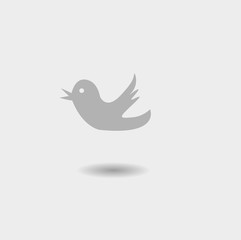 Trendy gray  bird social media web