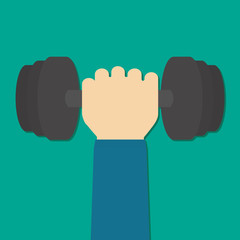 barbell in hand in flat design on backfround
