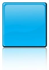 bouton carré bleu avec reflets