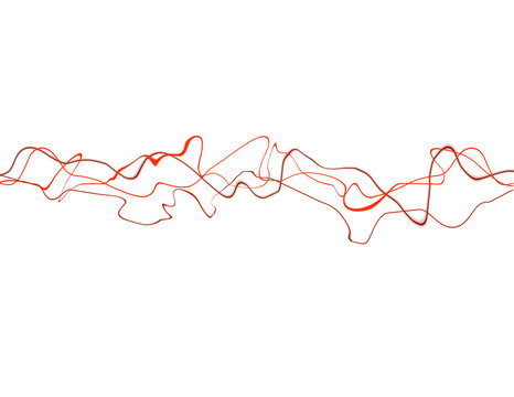 Abstract background of red squiggly lines against white