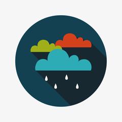 rain flat icon with long shadow