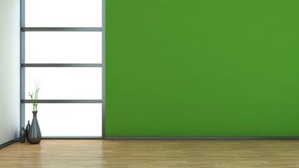 green empty interior with vase