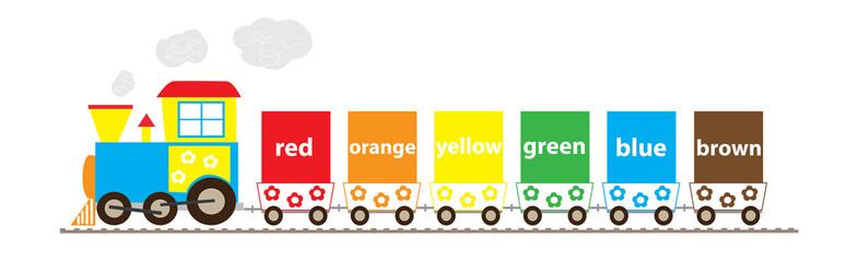 6 colors train - vectors for children