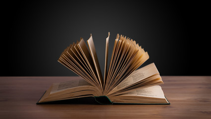 Open book on wooden deck