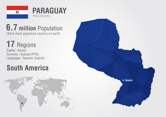 Wall Mural - Paraguay world map with a pixel diamond texture.