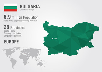 Wall Mural - Bulgaria world map with a pixel diamond texture.