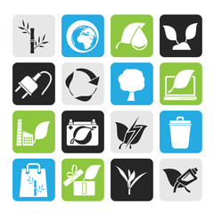 Silhouette Environment and Conservation icons - vector icon set