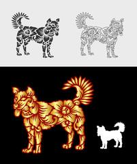 Dog ornament floral pattern decoration