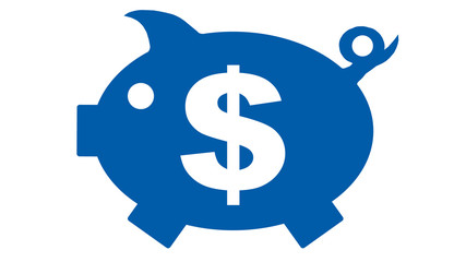 button - piggy bank in blue with dollar symbol - 16to9 - g1174