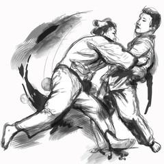 Judo - hand drawn illustration converted into vector