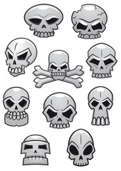Cartoon Halloween skulls