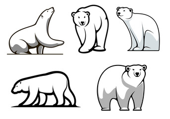White polar bears set