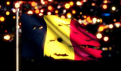 Belgium National Flag Torn Burned War Freedom Night 3D