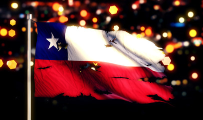 Chile National Flag Torn Burned War Freedom Night 3D