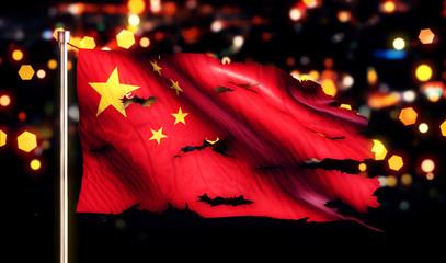 China National Flag Torn Burned War Freedom Night 3D