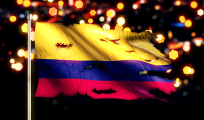 Colombia National Flag Torn Burned War Freedom Night 3D