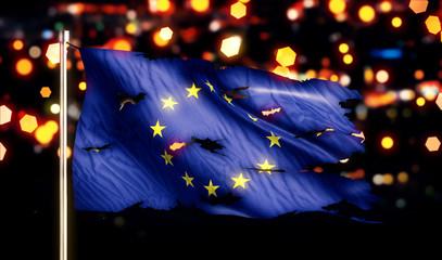 Europe National Flag Torn Burned War Freedom Night 3D