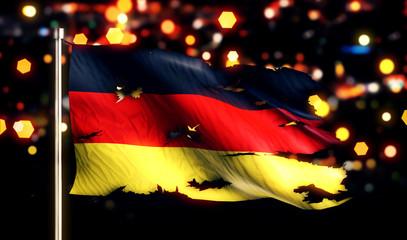 Germany National Flag Torn Burned War Freedom Night 3D