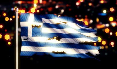 Greece National Flag Torn Burned War Freedom Night 3D
