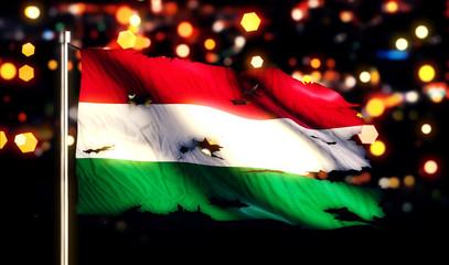 Hungary National Flag Torn Burned War Freedom Night 3D