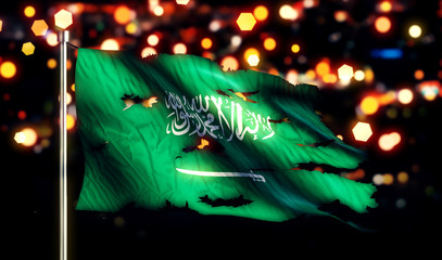 Saudi Arabia National Flag Torn Burned War Freedom Night 3D