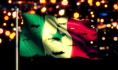Senegal National Flag Torn Burned War Freedom Night 3D