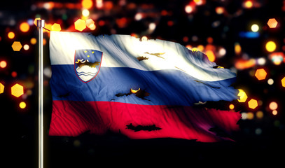 Slovenia National Flag Torn Burned War Freedom Night 3D