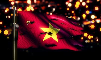 Vietnam National Flag Torn Burned War Freedom Night 3D