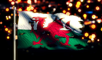 Wales National Flag Torn Burned War Freedom Night 3D