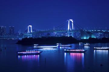 [東京都市風景]お台場から望む東京都心の夜景-887