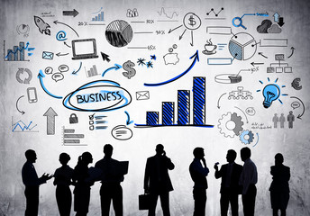 Silhouettes of Business People with Business Concept