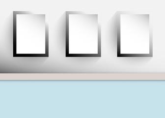blank black frame on the wall vector illustration