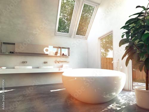 lichtdurchflutetes badezimmer mit gro er freistehender badewanne stockfotos und lizenzfreie. Black Bedroom Furniture Sets. Home Design Ideas
