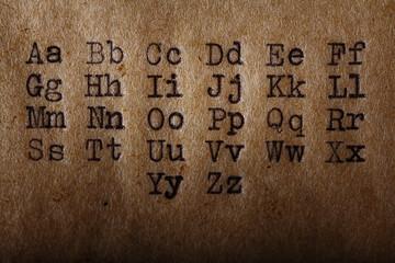 Latin alphabet, font printed on vintage typewriter