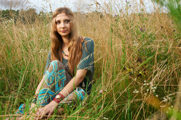 hippie lady in the fields