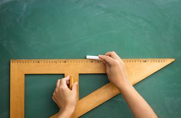Wall Mural - Blackboard and wooden ruler