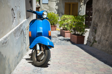 Retro blue scooter