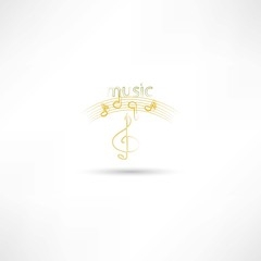 gold treble clef and music symbols
