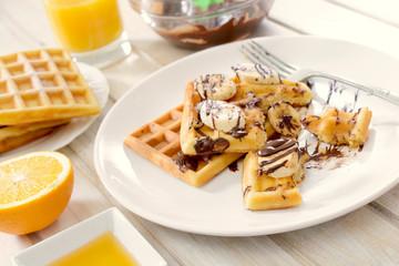 Sweet Belgian waffles in plate