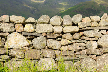 Dry stone wall no mortar Lake District Cumbria uk