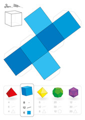Paper Model Hexahedron Cube