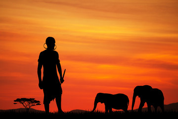 African man at sunset