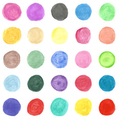 Set of colorful watercolor hand painted circle. Illustration