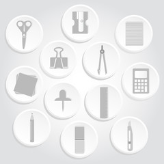 Gray circular icons of business and science