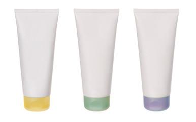 set of white plastic tubes isolated on white
