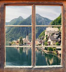 Wall Mural - Fensterblick Hallstatt