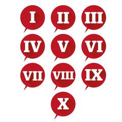 Numbers set. Vector flat design roman numeral
