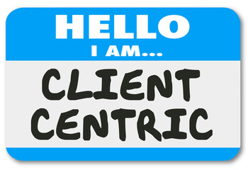 Client Centric Words Hello Name Tag Sticker