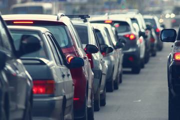 traffic jams in the city, road, rush hour Fotomurales
