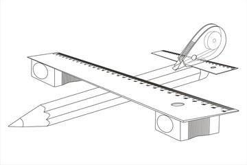 Avión y material escolar líneas